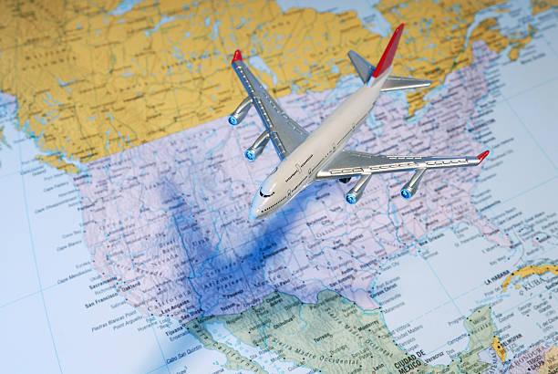 Flight over the USA stock photo