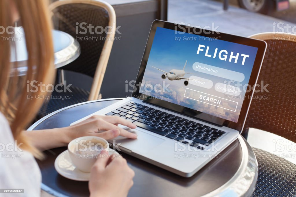 flight search on internet, buy ticket online stock photo