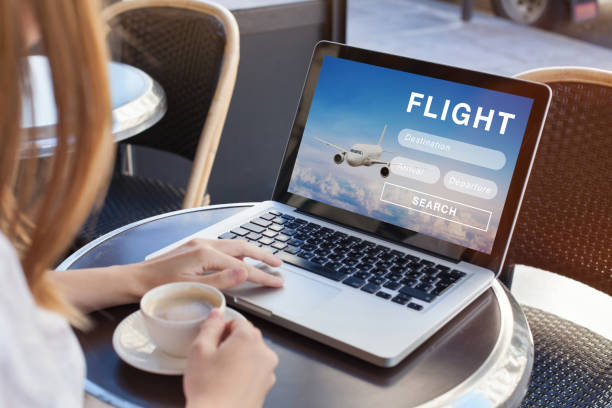flight search on internet, buy ticket online - aereo di linea foto e immagini stock
