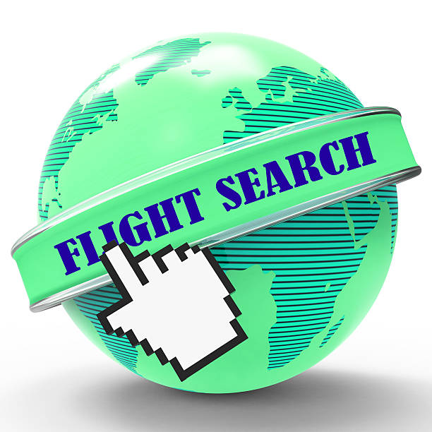 flight search shows flights research and researcher - flugticket vergleich stock-fotos und bilder