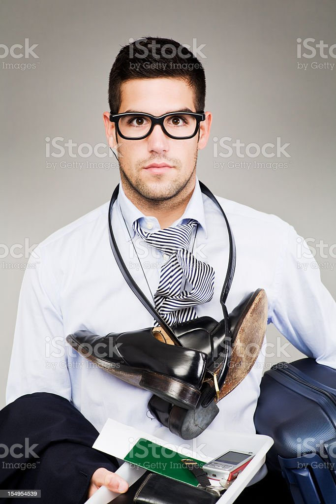 Flight security hassle _ stressed business passanger stock photo