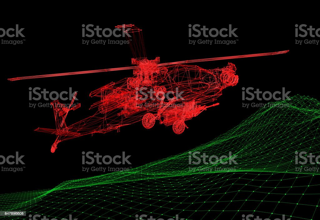 Flight Simulator Of The Military Helicopter Stock Photo