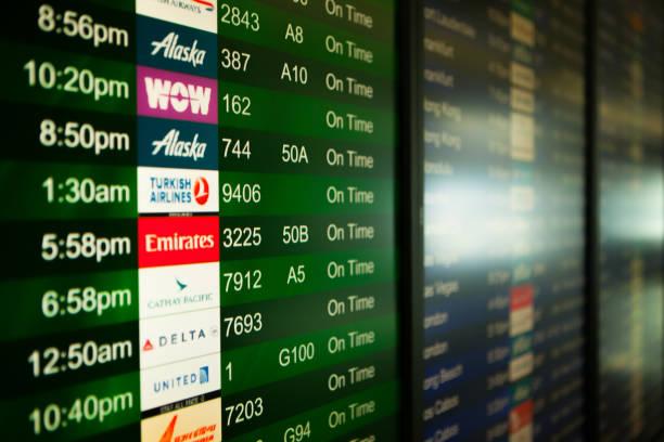 Flight Status Board in SFO - foto stock
