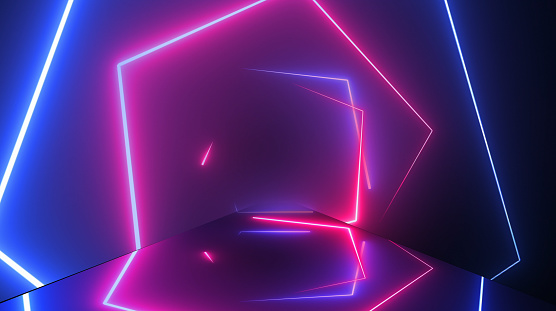 904312598 istock photo Flight through neon tunnel, fashion podium, abstract background, spinning frames, virtual reality, glowing Hexagon shape. 1180473740