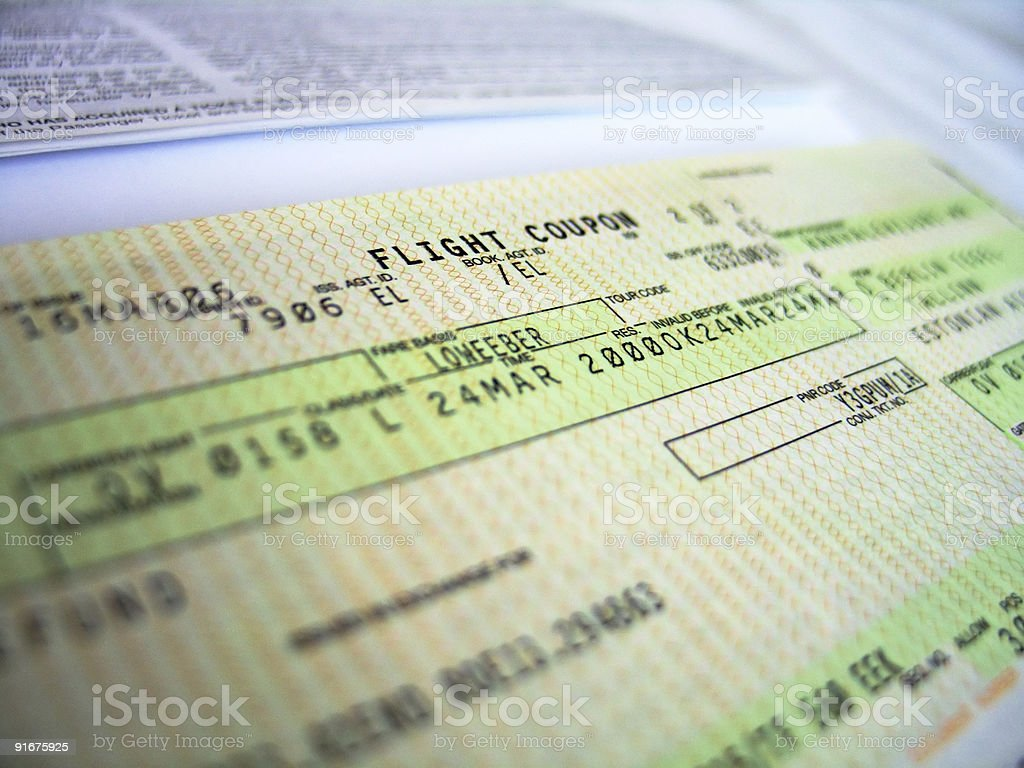 flight ticket 2 royalty-free stock photo