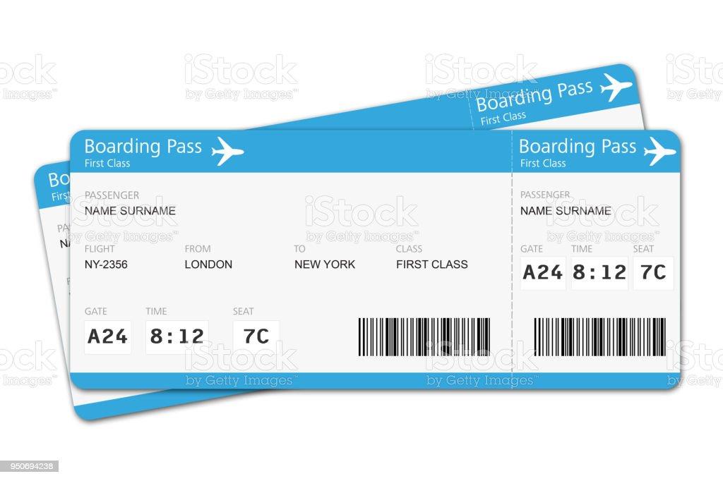 Billets d'avion parcourt un trajet d'embarquement de vacances - Photo