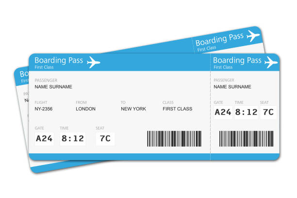 flight tickets travel vacation boarding journey - aeroplane ticket stock photos and pictures