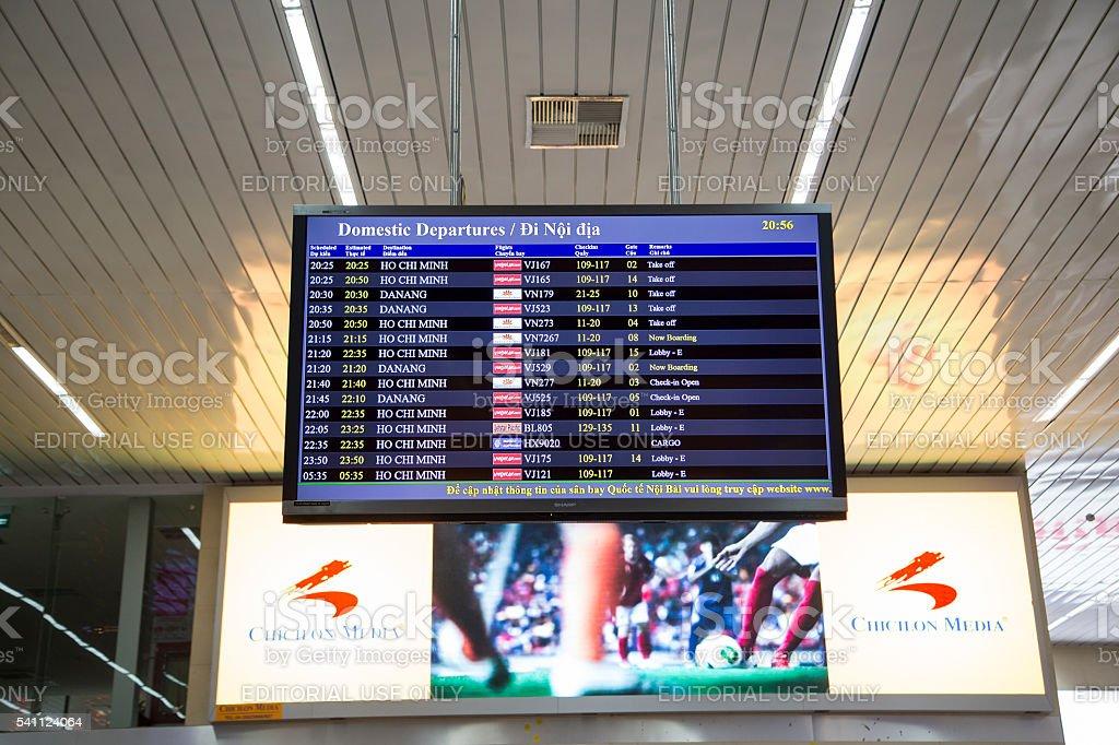 Flight timetable board stock photo
