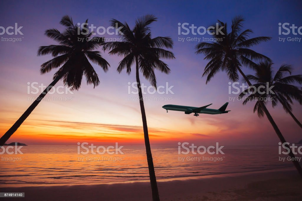 flight to exotic travel destination stock photo