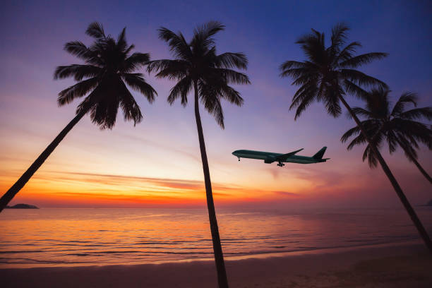 flight to exotic travel destination stock photo