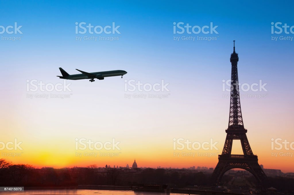 flight to Paris, travel to Europe background stock photo