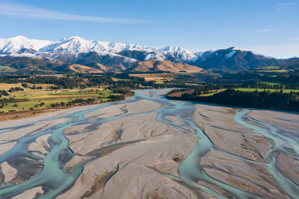 Flight To The Southern Alps, New Zealand stock photo