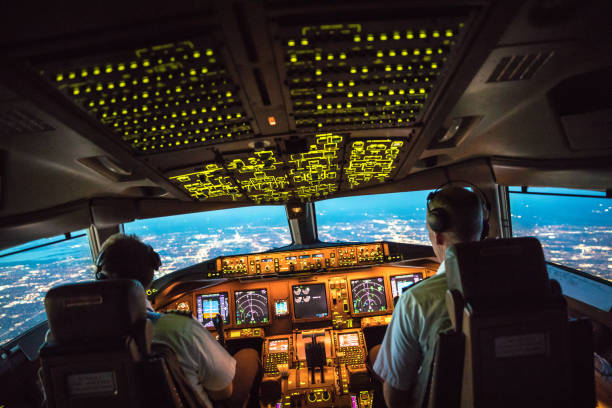 flightdeck view - cockpit stock photos and pictures