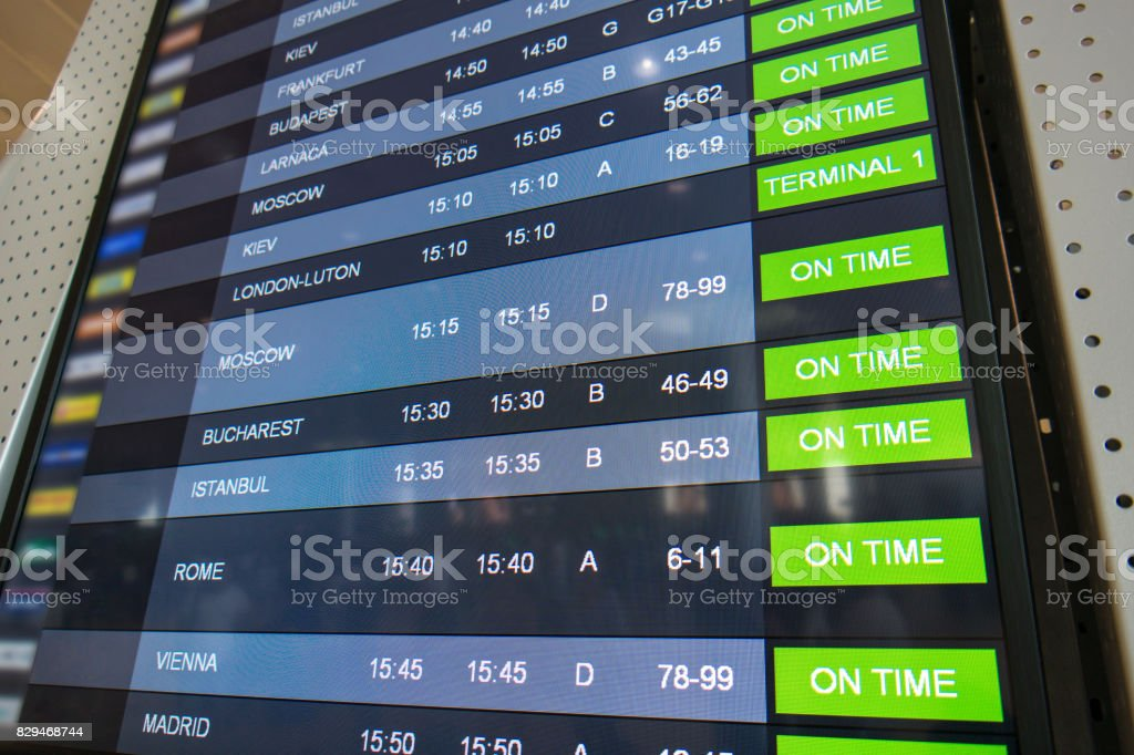 Flights, arrival and departures on information board stock photo