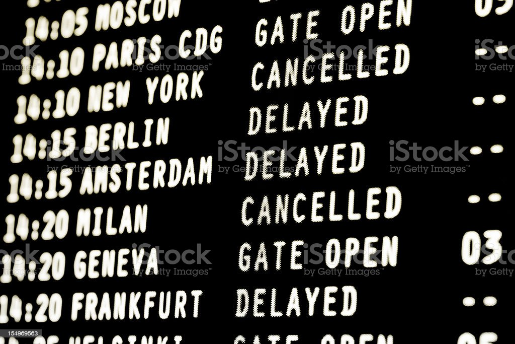 flights cancelled and delayed - airport arrivals departures information screen stock photo