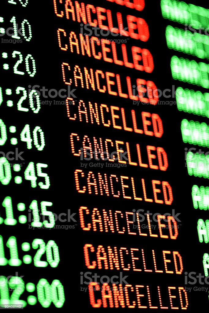 flights cancelled - departures arrivals screen / board royalty-free stock photo
