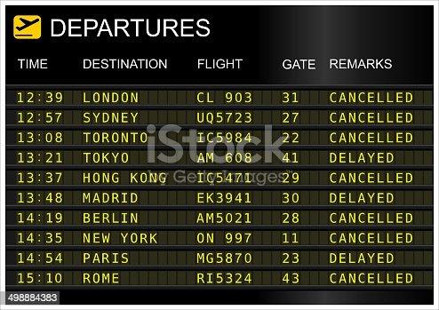 istock Flights departures board 498884383