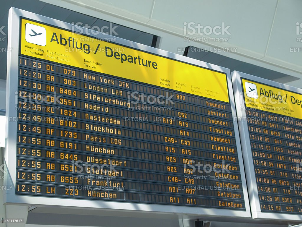 Flights time table stock photo