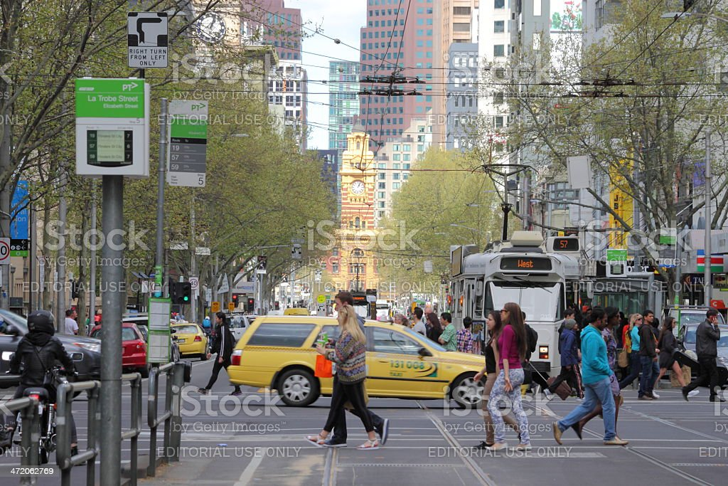 Flinders station and Elizabeth Street stock photo