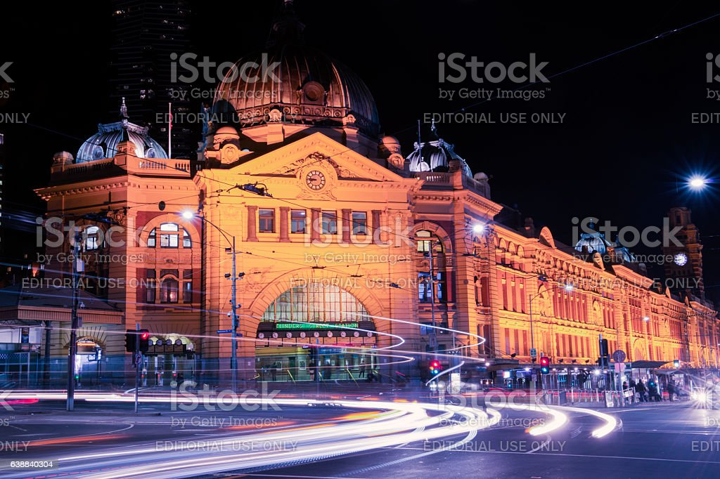 Flinders street railway stock photo
