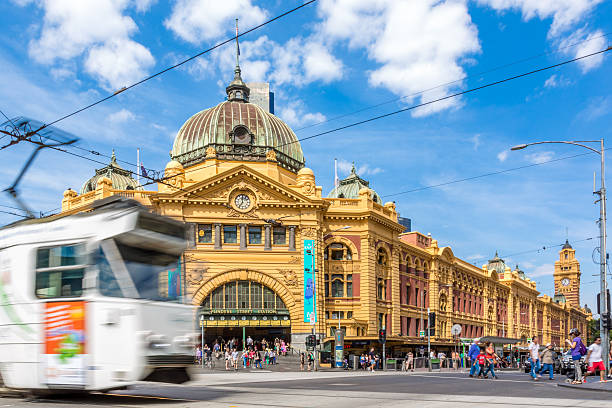 Flinders Street Station and Tram in Melbourne, Australia stock photo