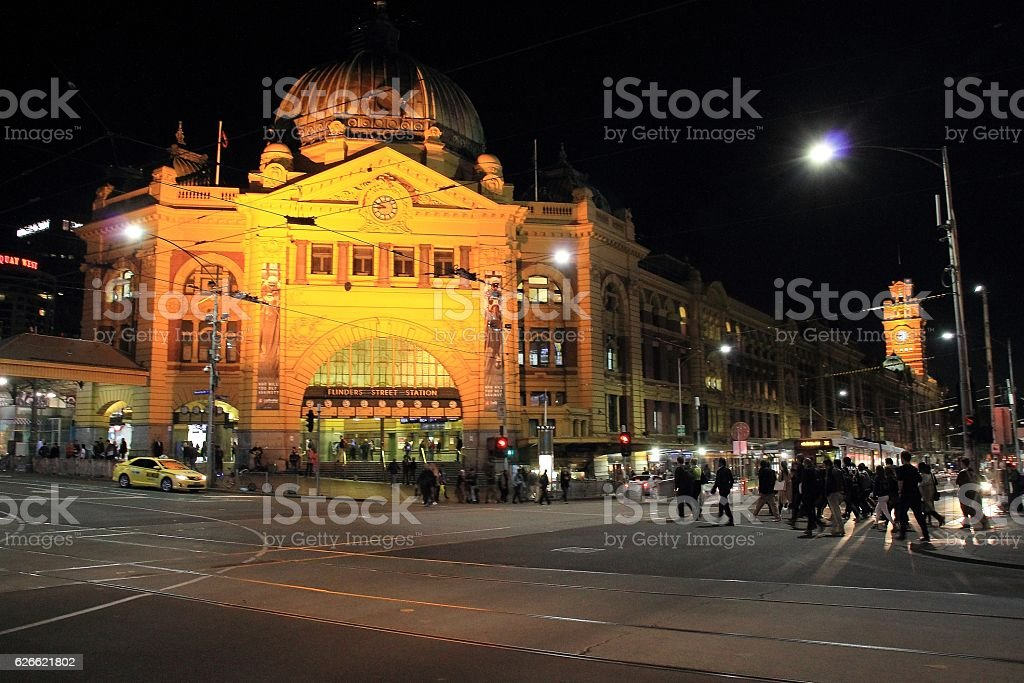 Flinders Street Station at night stock photo