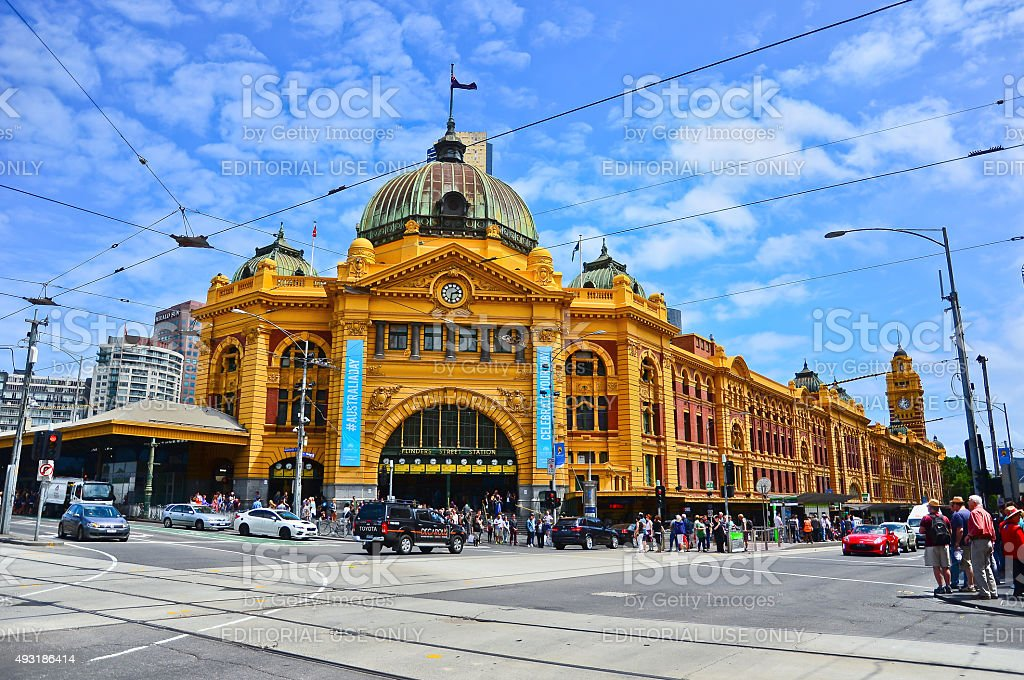 Flinders Street Station in a sunny day in Melbourne stock photo