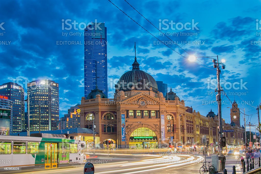 Flinders Street Station in Melbourne at night stock photo