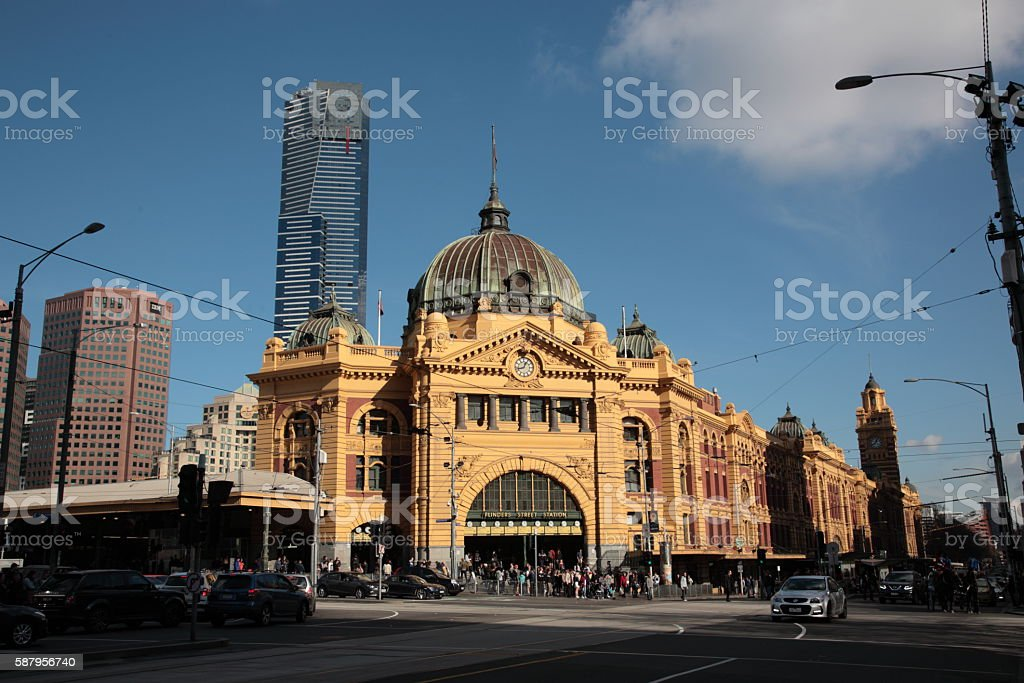 Flinders Street Station in Melbourne city stock photo