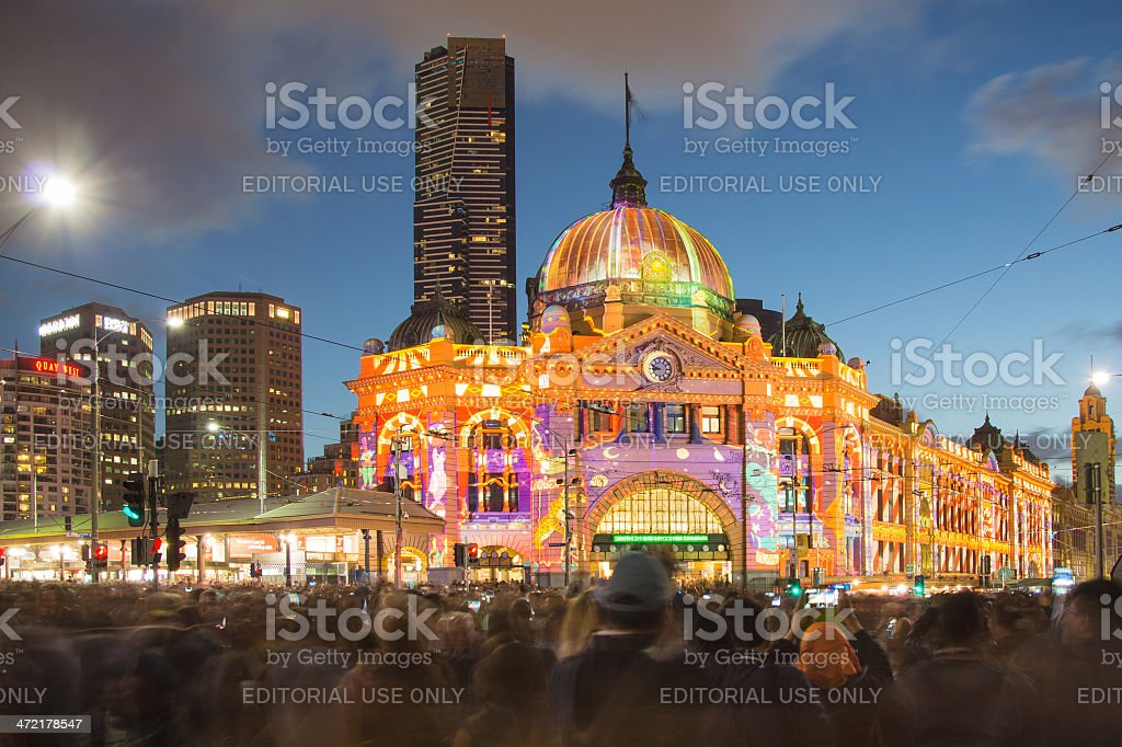 Flinders Street Station in Melbourne during the White Night Festival stock photo