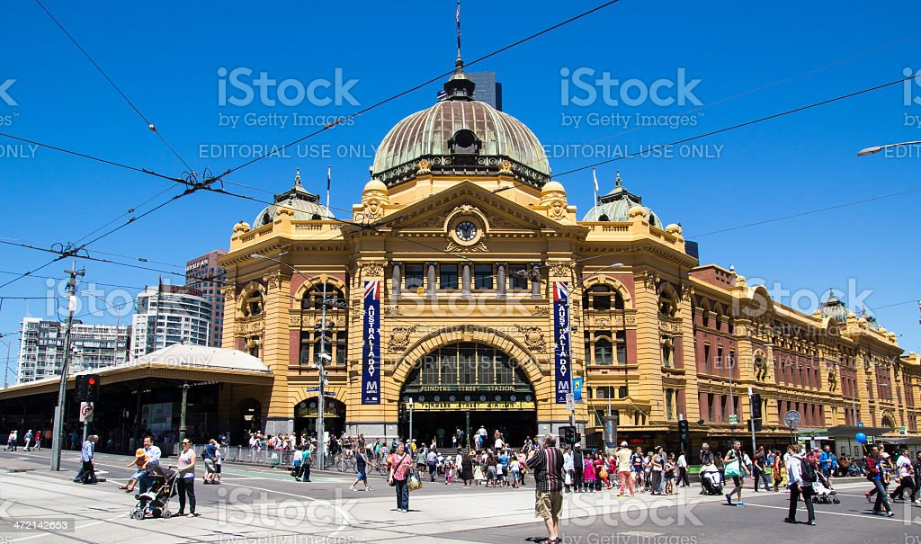 Flinders Street Station in Melbourne on Australia Day stock photo