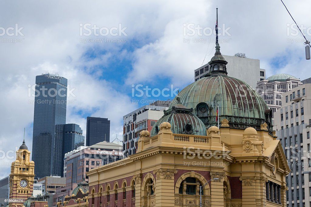 Flinders street station in Melbourne stock photo