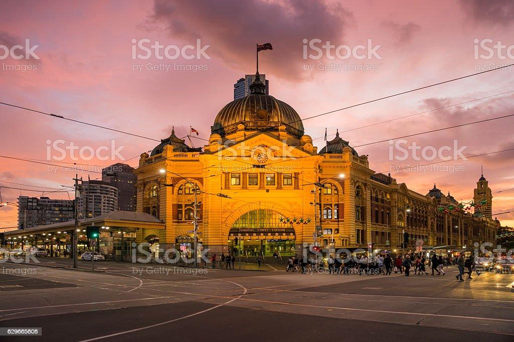 Flinders Street Station, Melbourne, at sunset stock photo