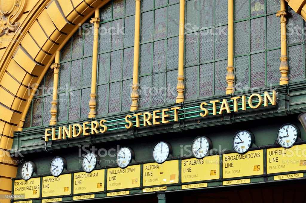 Flinders Street Station  - Melbourne stock photo