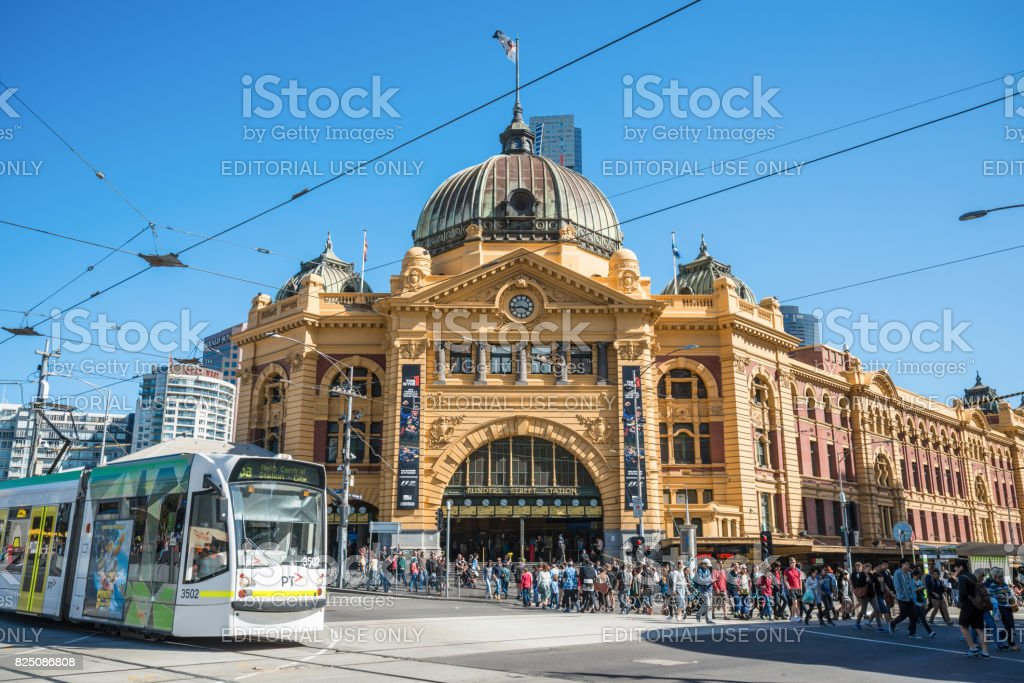 Flinders street station the iconic landmark of Melbourne, Australia. stock photo