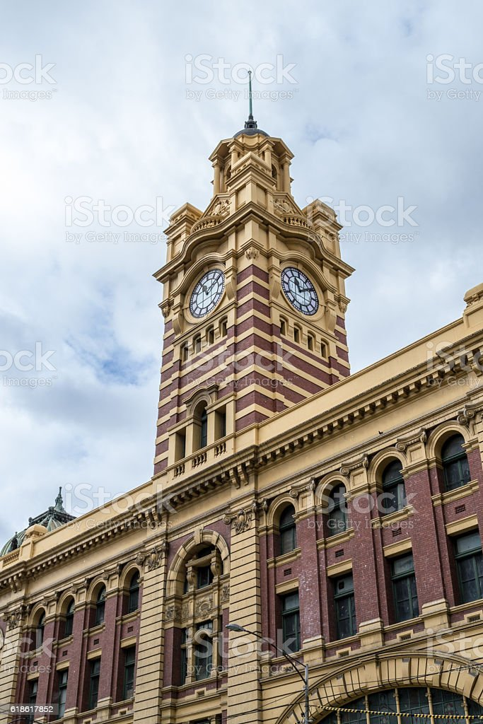 Flinders street stations clock tower stock photo