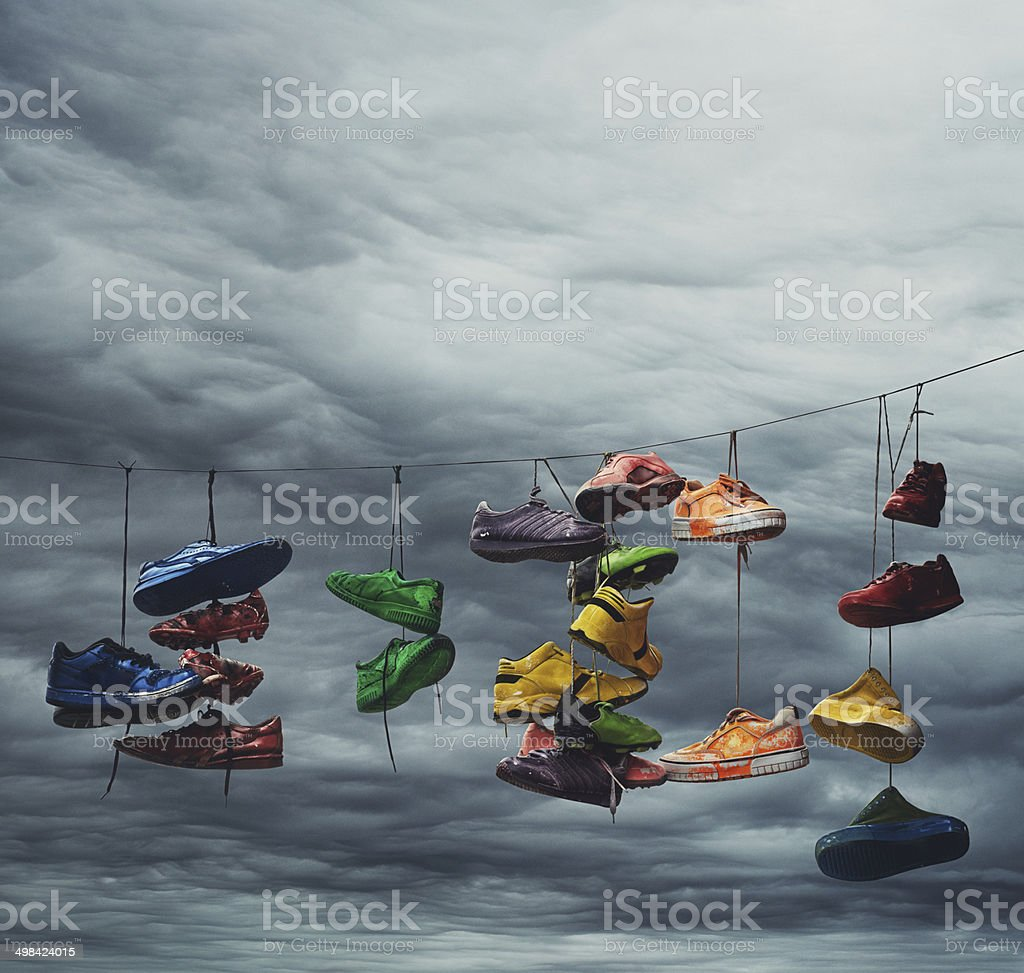 Fling Your Shoes Skyward stock photo