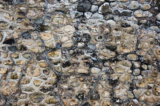 Flint and Stone Wall Background Texture stock photo