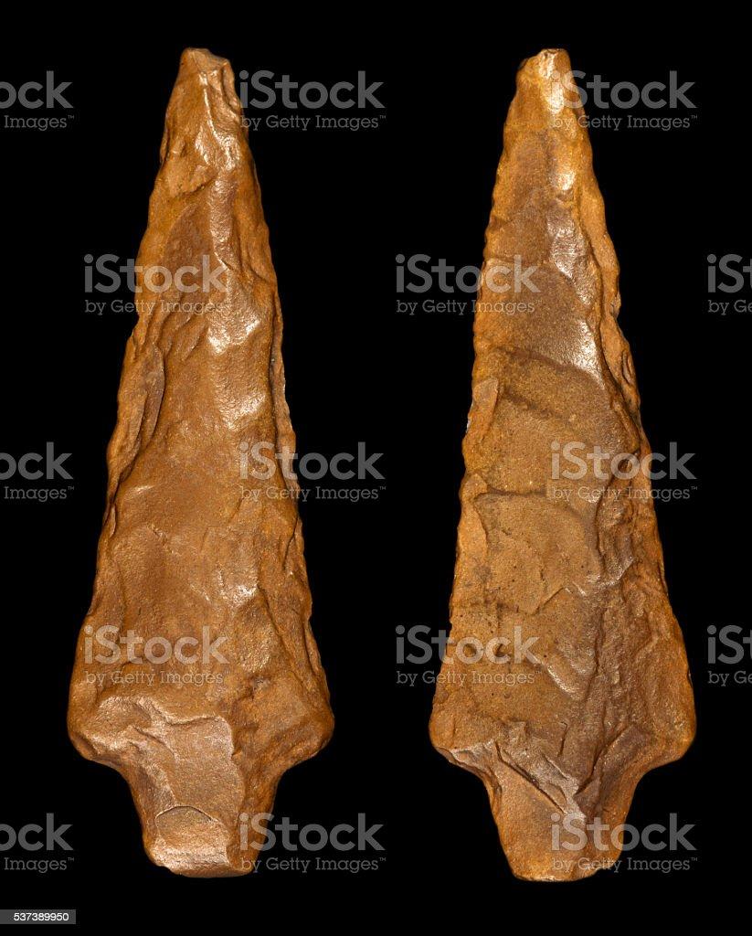 Flint Arrowhead - Front and Back stock photo