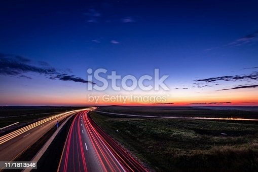 Turnpike at dusk in the flint hills of Kansas