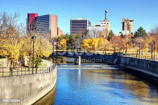 Autumn colors along the Flint River in downtown Flint Michigan