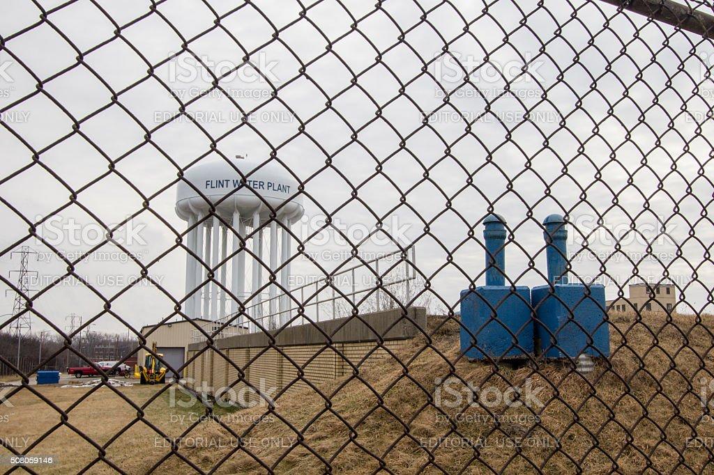 Flint Michigan agua de cadena cerca de conexión de torre foto de stock libre de derechos