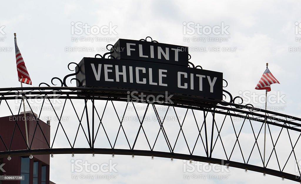 Flint Vehicle City sign stock photo