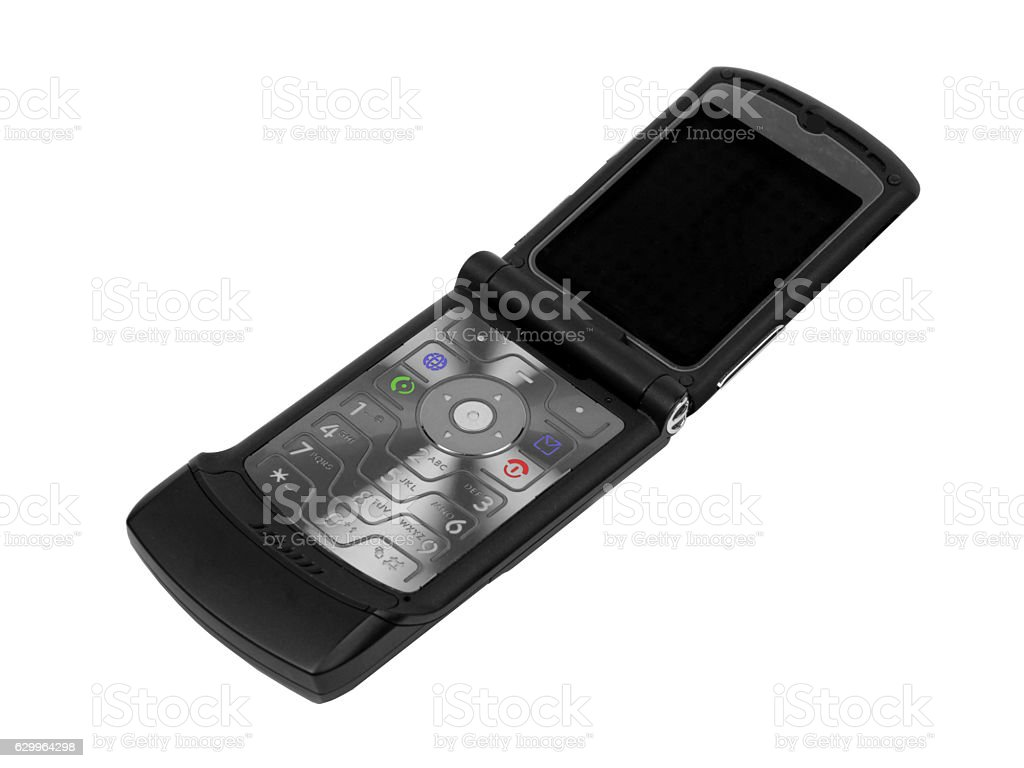 Flip cell phone on a white background stock photo