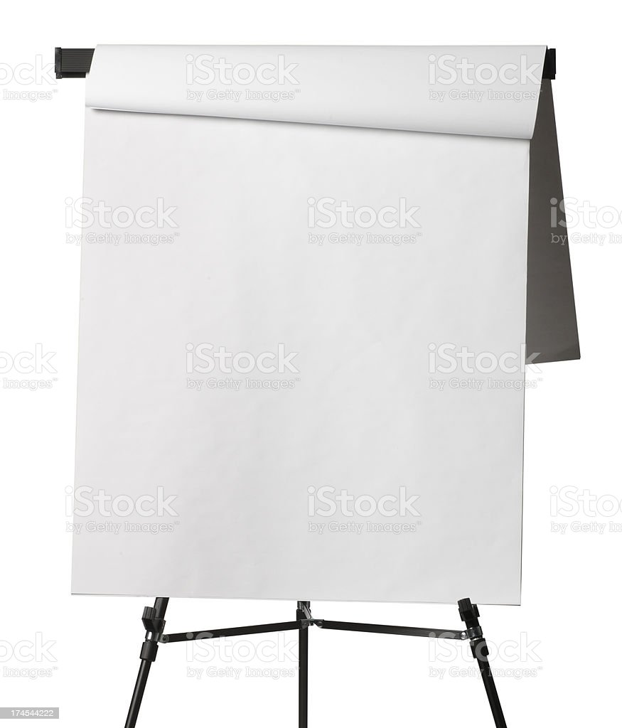 Flip chart with pages flipped isolated on white background stock photo
