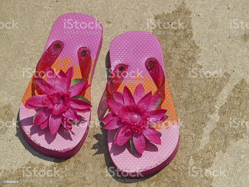 flip flop sandals by the pool royalty-free stock photo