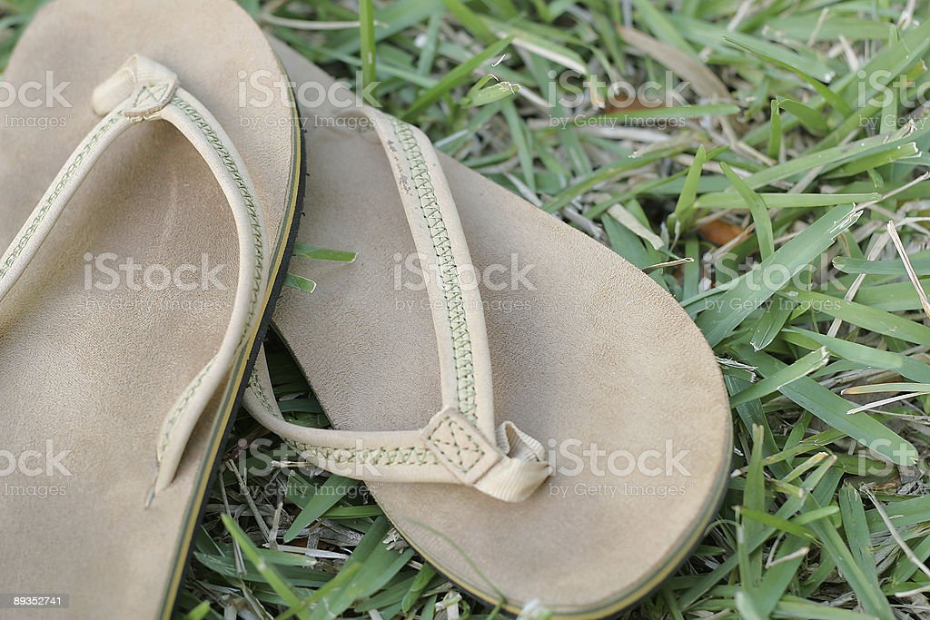 flip flop shoes in the grass royalty-free stock photo