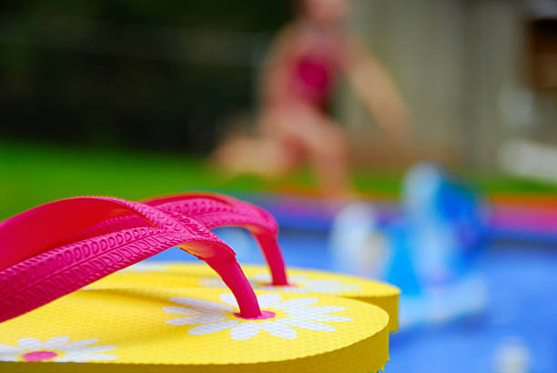Flip Flops by Pool stock photo