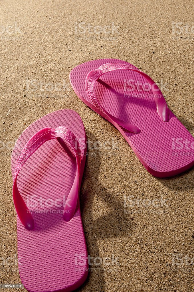 Flip Flops On Sand royalty-free stock photo