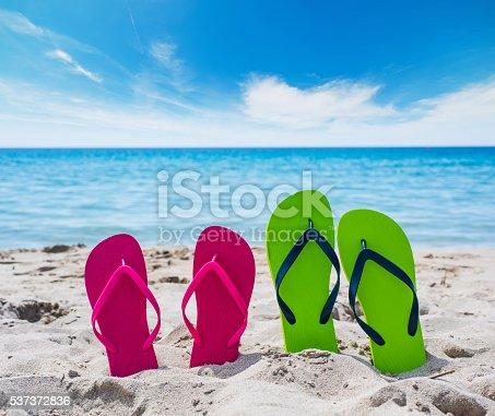istock flip flops on the sand 537372836